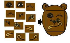 """составляем лицо медведя на основе визуальных """"слов"""" из словаря"""
